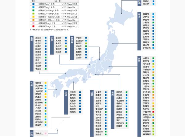 地域別の硬度マップ